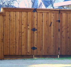 these bottom two pictures are showing stained cedar fence pickets set in fortress estate ornamental iron you can learn more about fortress ornamental iron